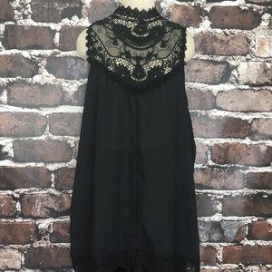Tops - Black sleeveless lace top shirt plus size 4x XXXXL
